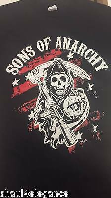 Sons Of Anarchy Mc Reaper Red Background 100  Cotton Shirt Black New Tv Series