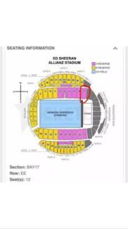 1x ED SHEERAN SYDNEY CONCERT TICKET A RESERVE RIGHT NEXT TO STAGE Burwood Burwood Area Preview