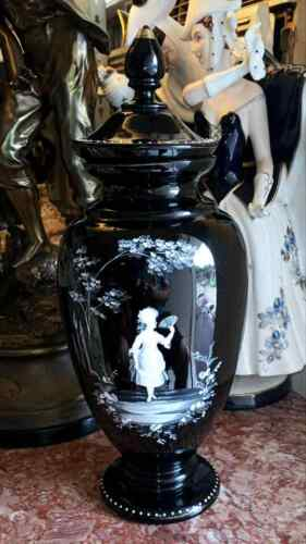 Antique Mary Gregory Black Urn with Lid, XIX C.