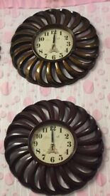 50 cm diameter large vintage retro WALL CLOCK brown / copper / white /brand new
