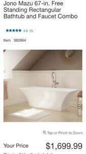 Brand new stand alone bath tub and faucet