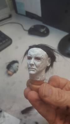Painted 2018 Halloween  Michael Myers head for 12 inch body rooted hair new