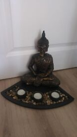 Home decor, Buddha corner decoration with candles