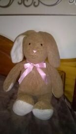 LOVELY SOFT RABBIT WITH PINK BOW VERY,VERY GOOD CONDITION
