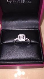 ** 18CT WHITE GOLD FOUR STONE PRINCESS CUT DIAMOND RING, 0.46CT DIAMONDS, STUNNING **