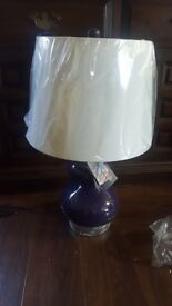 STUNNING - Eli Glass Table Lamps, Dark Purple, Set of 2