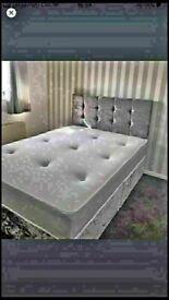 🔵💖🔴EXCELLENT QUALITY🔵💖🔴CRUSHED VELVET DIVAN BED BASE SINGLE/DOUBLE/KING SIZE DIFF MATTRESSES