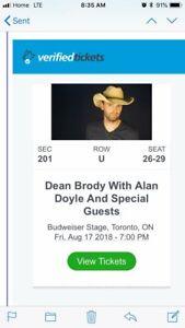 Dean Brody & Alan Doyle Tickets - Tonight! (2)