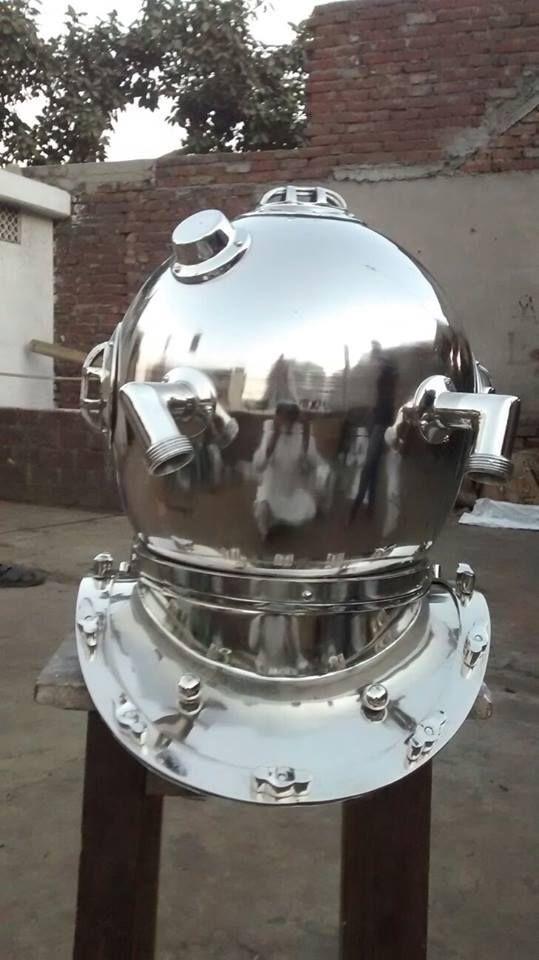 Chrome US Navy Mark V Divers Helmet  Deep Sca Mark IV Vintage Diving Helmet