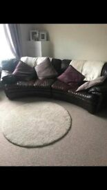 Brown real leather sofa, tatty condition but free