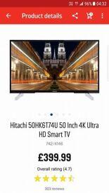 50IN 4K ULTRA HD FREEVIEW SMART WIFI TV IN BOX NEW JOT NEEDED GIFT