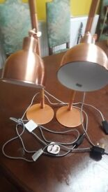 Pair of Copper and wood table lamps