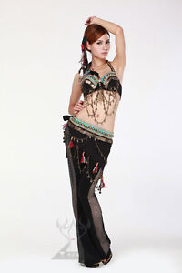 New Style Black Tribal Belly Dance Costume Set Bra Belt B cup