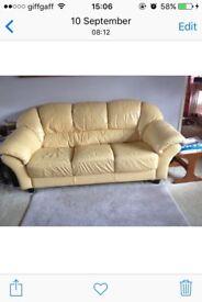 Leather 3 Seater Sofa Yellow