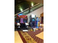 rental of arcade machines fixed weekly pac man space invaders sega rally arcade boxing machines