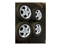 Porsche alloy wheels Boxter 986 twin 5 spoke alloys and tyres full set