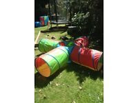 Selection of play tunnels and a tent - 3 tunnels (one an X shape) and 1 round tent.