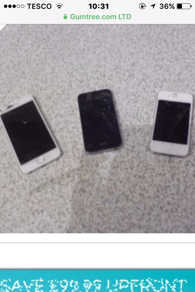 iPhone 6 and 2 iPhone 4s for spares or repairsin Alloa, ClackmannanshireGumtree - iPhone 6 and 2 iPhone 4s. They all turn but need screens fixed. iPhone 6 screen still works but is cracked. Easy fix for someone or spare or repair