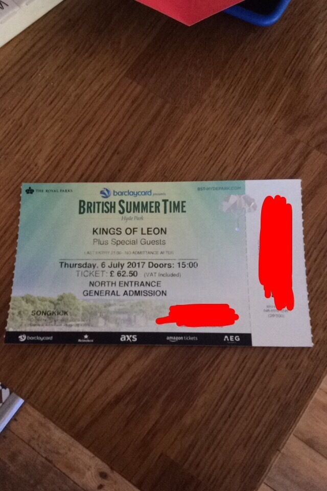 Kings of Leon Hyde Park ticket - CHEAP