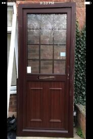 Brown front door with frame size 90-210 cm