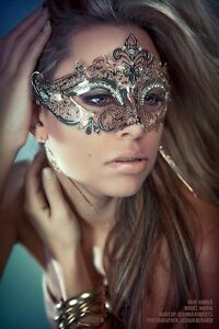 Luxury Silver Elegant Metal Laser Cut Venetian Halloween Ball Masquerade Mask