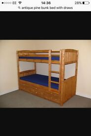 Antique pine bunk beds with draws and mattress