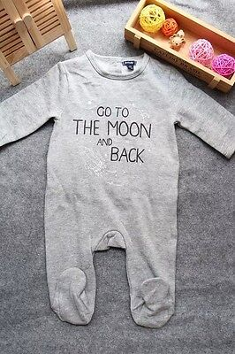 NEW Kiabi Baby Boy GO TO THE MOON & BACK grey footed Romper