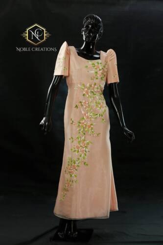 FILIPINIANA DRESS Hand-painted Mestiza Maria Clara Gown Philippines - Peach