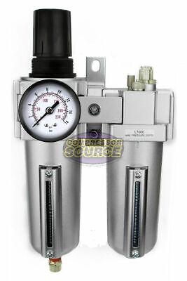 12 Compressed Air Moisture Filter Regulator Oiler Separator Lubricator Combo