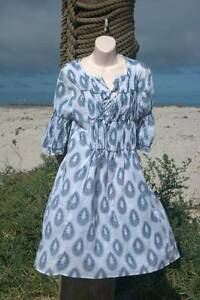 "AMANDARA ""Montana"" shirred dress - tear print white/navy M/L Fullarton Unley Area Preview"