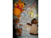 winnie the pooh and friends soft toys x 4 all brand new with tags still on