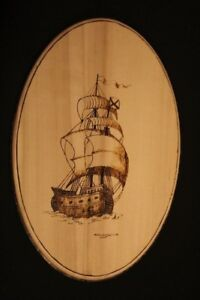 Woodburning boat caravel galeon wood pyrography