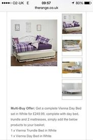 BRAND NEW-White metal day bed including trundle & x2 mattresses.. Also various other items for sale