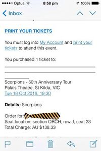 Scorpions ticket Kinglake Murrindindi Area Preview