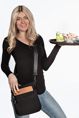 Deluxe 5 Pocket Tablet Waitress Pouch Apron With Shoulder Strap