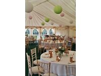Green and pink paper lanterns - perfect for a wedding or party