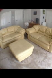Leather 2 Seater Sofa's + Footstool
