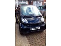 Smart car convertible good engine spares or repair pulse softouch 61a black 2003