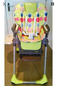 Chicco highchair with wipe clean cover, good condition