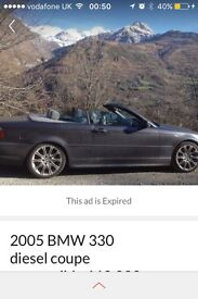 BMW 330 diesel coupe convertible M sport 2005 110,000 mls