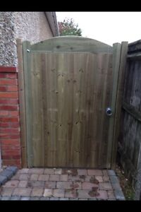 Solid Staplewood Bow Top Timber Garden Gate. Bespoke Wooden Gates Made To Order