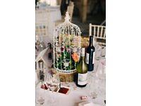 10 Jewelled Birdcage with 6 Tealight Holders - Cream