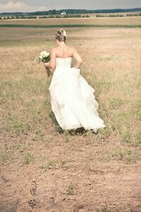 Wedding dress, strapless, lace with button back London Ontario image 5