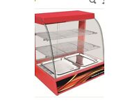 Counter top heated red display curved glass hot food cabinet warmer