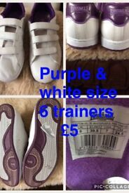 lonsdale white / purple size 6 trainers