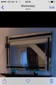 Fireplace size mirror with black glass detail ex cond. cost £170- modern style good quality