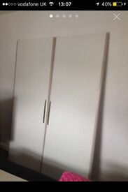 Double White gloss wardrobes with storage for sale