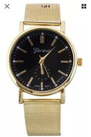 Geneva Watch Mens Womens Unisex Black Face Gold Strap NEW