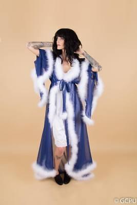 Handmade chiffon dressing gown robe marabou feather trim standard or plus size](Marabou Robe)