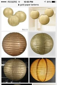 "16"" gold paper lanterns for wedding and deco"